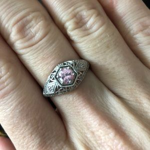 Pink Vintage Style Ring size 8
